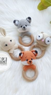 Fairy Toys by Inna Chi - Inna Chi Hm - Inna Chibinova / Chybinova - Fox and Wolf, Bunny, OWL Rattle (English)