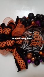Halloween baubles wreath