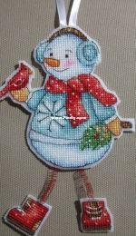 Snowman with bird -- by Elena Shestakova
