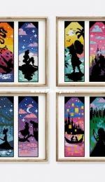 Stitches Lovers Shop - 12 Princesses Bookmarks - Landscape Silhouette