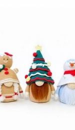 SET 5 Christmas Gnomes, crochet pdf patterns, Tree Deer Snowman Gingerbread Cow toys by Julia Negovorina