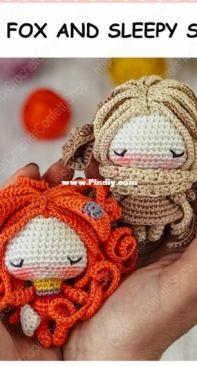 Crochet Confetti Shop - Irina Moilova - Pattern Doll Bear - Sleepy Fox and Sleepy Sheep