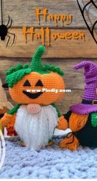 AmigurumiToyPattern- Amigurumi gnomes, crochet pattern, Pumpkin Gnome, crochet gnome doll, scandinavian gnome, witch gnome, halloween décor, crochet doll pattern