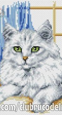 Machine Emb. Cross Stitch  White Cat