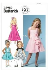 Butterick B5980 Set of Girls dresses  sewing paterns (sizes 2-5 years).