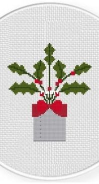 Daily Cross Stitch - Potted Holly Plant