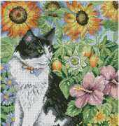 Cross Stitcher Black and white cat