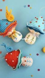 Christmas crochet mushroom