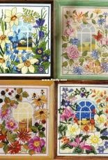A Room with a View - Seasonal Window Scenes by Lesley Teare from  Cross Stitcher UK 121, 126, 130, 133