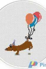 Daily Cross Stitch - Dog with Balloon