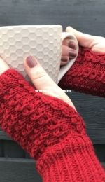 Mock Cable Fingerless Gloves by Nicola Furey-Free