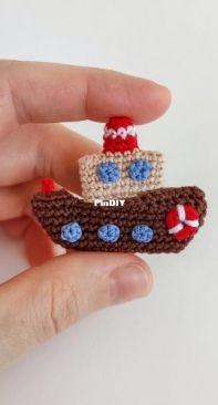 Crochet Pattern By Lily - moi prelesti - Liliya Sharipova - Steam boat brooch  - Russian