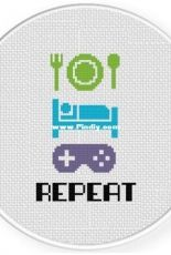 Daily Cross Stitch - Eat Sleep Game Repeat