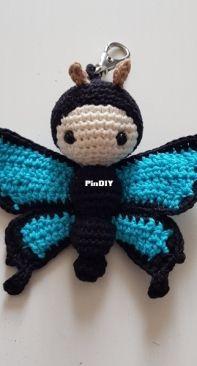 adjusted pattern lalylala - Butterfly keyring