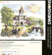 Dimensions Stamped Cross Stitch - Country Church 3227