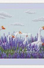 Geese in Lavender by Natalia Cherepanova