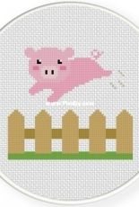 Daily Cross Stitch - Piggy over the Fence