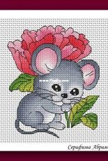Mouse with Peony by Serafima Abramova / Серафима Абрамова