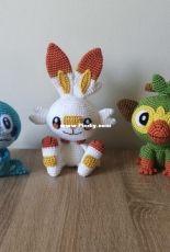 Shea Crochet - Pokemon Galar starters crochet pattern bundle (Scorbunny, Grookey & Sobble) - English