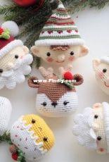 RNata - Natalia Ruzanova - Christmas decoration - Reindeer - Elf - Santa and Cake