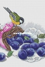 Lovely Stitches - Great Tit and Plums  by Ekaterina Seryogina
