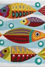 Mid-Century Fish Needlepoint by Emily Peacock
