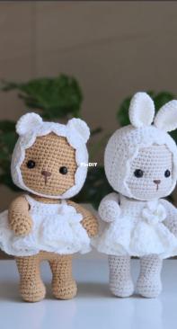 MK RHO - Ro Mi-kyung - Baby Bear and Bunny in White Dress