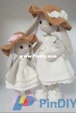Crochet MK RHO Pattern - Mom and Baby Bunny-Russian - Translated