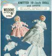 vintage knitted doll by Weldons knitwear