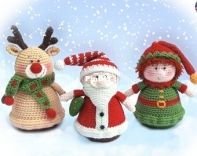 Knit a Miracle by Nelly - Nelly Shkuro - Christmas Ornaments - Santa Claus, Elf Helper and Reindeer
