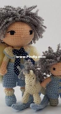 Dolls Shelf - Ewa Shelf - Guardian Angel Blue with little boy and Rocking horse