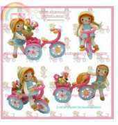 Handmade Kitty  - Flowers girls riding a tricycle-English