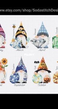Soda Stitch SO-BS13 - Birthstone Gnome