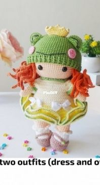 Lubava Crochet Pattern - Lyubov Kholkina - Doll with Frog Hat and two outfits