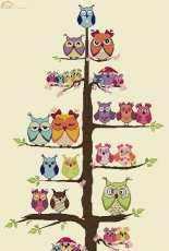 Alessandra Adelaide Needleworks AAN A213  Owl Family Tree PCS