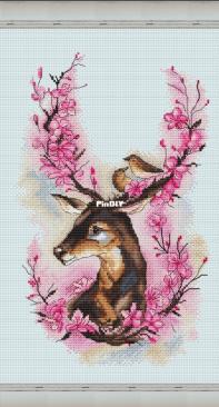 Deer and Sakura by Lena Averina / Pavlova