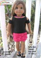 """SuzyMStudio-Lace and Ruffle Skirt-18""""inch doll"""