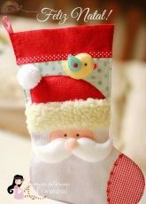 Erica Catarina's-Felt Christmas Stocking-Free Pattern/Portuguese