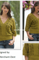 Cascade Yarns - DK246 - Simona Merchant-Dest - Chrocheted Pineapple Top - Free