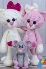One and Two Company – Carolina Guzman – Kissie the Kitty and Skip the Little Mouse Amigurumi