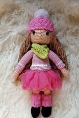 My crochet doll pink clothes
