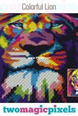 Two magic pixels - Colorful lion