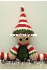 Left Handed Crocheter  - Jennifer Adams - Elf Draft Stopper And Shelf Sitter
