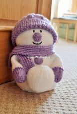 Knitting By Post  - Snowman with Snowball Door Stop