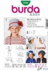 Burda Kids 9496 Caps and Hats Sewing Pattern
