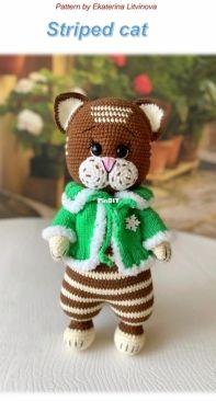 Kat Knit Toys - Ekaterina Litvinova - Striped Cat - Brown version