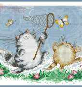 Cats and Butterflies by Margaret Sherry from Cross Stitch Crazy 191