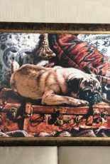 Thomas Rivers Lovelace Pug on Suitcase