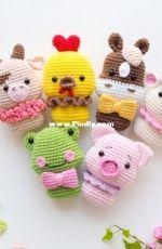 Rnata - Natalia Ruzanova - Mini Toys - Chick piggy cow frog, sheep and horse