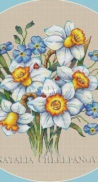 Daffodils and Forget-me-nots by Natalia Cherepanova